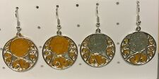 Silver Plated Filigree Circle, with added Resin, Earrings on Silver Plated Hooks