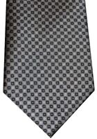 NEW BRIONI SILVER GRAY & BLACK SQUARES 100% SMOOTH SILK NECK TIE