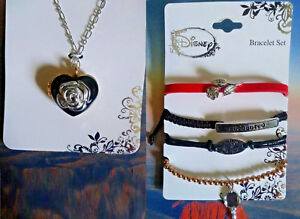 Disney Beauty and the Beast Necklace and Bracelet Set of 5 New Locket