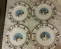 4 SNOWMEN SERENADE Cambridge Potteries Salad Plates Toby Pieri 1997 4 designs