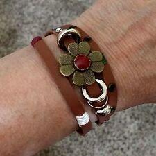 Faux Leather Wrap Bracelet with Brass Flower