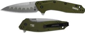 """Kershaw Dividend Assisted Opening Knife Olive (3"""" Composite) 1812OLCB"""
