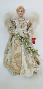"""White & Gold Gown Christmas Angel Tree Topper, Feather Wings, 16"""" Tall"""