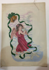 Stocking-Angel & Doves-Hand Painted Needlepoint Canvas-18 count canvas