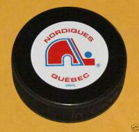QUEBEC NORDIQUES Team Logo NHL Vintage Hockey Series SOUVENIR PUCK NEW InGlasCo.