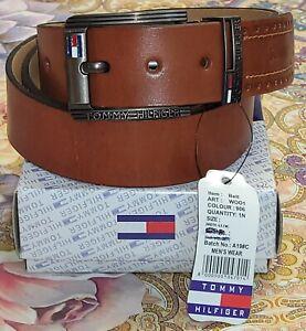 """Men's Tommy Hilfiger Genuine Leather Belt Tan 40"""" RRP £ 140.00"""