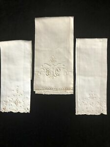3 Vintage Complimentary Ivory LINEN Hand Towels w/ Embroidery