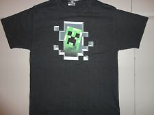 Minecraft Creeper Black Graphic T Shirt Adult L Free Shipping US