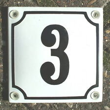 FRENCH ENAMEL HOUSE NUMBER 3 SIGN, BLACK NUMBER ON A WHITE BACKGROUND. 10x10cm.