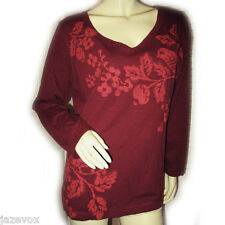 RED MAROON BURGUNDY Long Sleeve V-Neck Women SHIRT TOP Casual Wear Womens XL