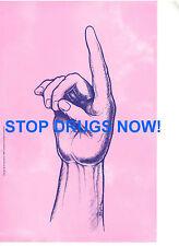 STOP DRUGS NOW IN ASL SIGN LANGUAGE FINGERSPELLING DEAF PROMO BANNER POSTER RARE