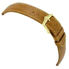 18mm Hirsch Camel Grain Tan Genuine Leather Stitched Watch Band Regular