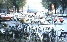 Copenhagen Demark Steet Scene Bike,Vespa,VW SAS Airport 1960 Kodak 35mm Slide