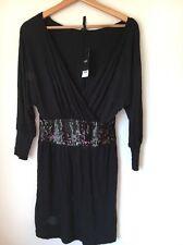 Dress Size 6 Black Sequin Trim BNWT Next Viscose Long Sleeve <T9965