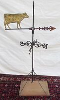ANTIQUE DAIRY COW WEATHERVANE WITH MOUNT & STANDARDS ON DISPLAY BASE BY CUSHING