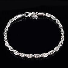 "Elegant Silver Lovely Flash Wrest Rope Chain 8"" inch 4mm Bracelet NoH196 giyt"
