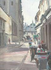 "NUOVO Originale Michael RICHARDSON ""Caffè in Bayeux"" NORMANDIA FRANCIA dipinto ad olio"