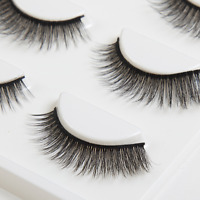 3D Make Up Natural Soft Handmade Thick Long Cross False Fake Eyelashes 3 Pairs