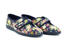 c639e7df53d7 Sleepers Wilma Ladies Womens Cotton Velcro Floral Comfortable Slippers Navy  Blue UK 7