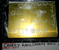 STAMPIN UP EVERYDAY EDGES STARS SNOW STENCIL CLASSY BRASS DRY EMBOSS TEMPLATE