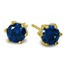 Quality 6mm Blue 9ct Gold Filled Basket Stud Earrings 9K Womens Girls CZ BE903