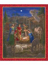 Holy Gatherings Fabric Panel Christmas Nativity Gold Metallic Premium Cotton