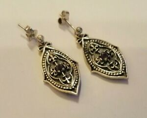 Oxidised Sterling silver and amethyst drop earrings