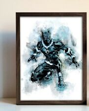 BLACK PANTHER , watercolour  Wall Picture Print  A4