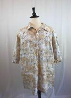 NEW GEN Mens Top Size 4XL Beige White Floral Linen Plus A16RD5