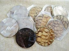 "(11) DECORATIVE SHELL / STONE (?) 2 1/2"" DISCS / CIRCLES FOR JEWELRY MAKING"