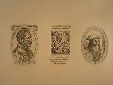 Planche gravure Religion Moyen age Portrait Ambroise Paré -Tiraqueau-Bourbon