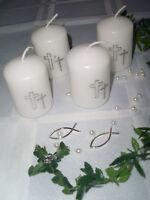 Set 4x Kerze Kommunion Konfirmation Taufe Kreuz weiss silber Tischdeko