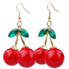 Women Fashion Cute Cherry Drop Dangles Rhinestone Ear Studs Earrings Jewelry
