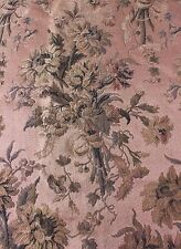 French 19thC Antique c1880 Tapestry Jacquard Textile Fabric~Florals & Ribbons