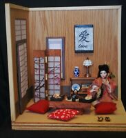 "Artist made Dollhouse Miniature Scenery Room Box Display ""Geisha's Song"""