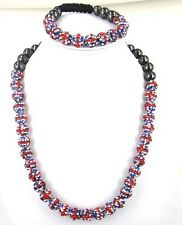 GB Union Jack Drapeau Shamballa bracelet + collier Set - 41x10mm Perles-Cristal-UK