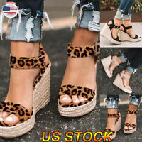 2019 Womens Sandals Summer Wedge High Heel Slingback Buckle Pumps Lady Shoes US