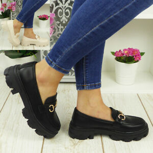Ladies Loafers School Shoes Chain Slip On Goth Casual Comfy Chunky Heel Work