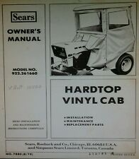 Sears Suburban Hardtop Cab Garden Tractor Owner & Parts (3 Manuals) 20p SS GT ST