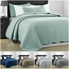 3 Pcs Quilted Bedspread Embossed Comforter Set Single Double King Super King Bed
