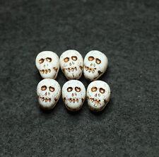 6 Czech glass crâne en forme de perles blanc/MATT/vieille patine 12x9mm (BBC2039)