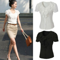 Women Chiffon Frill Ruffle Short Sleeve Tops Casual Office Ladies T shirt Blouse