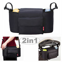 Allis 2in1 Baby Changing Bag Pram Storage Buggy Organiser - Black