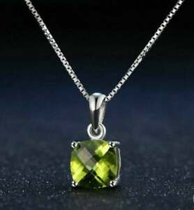 """1.50Ct Cushion Cut Peridot Solitaire Pendant Necklace W/18"""" 14k White Gold Over"""
