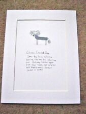 """CHINESE CRESTED DOG Matted Print 9x7"""" Art Picture Cartoon Humour"""