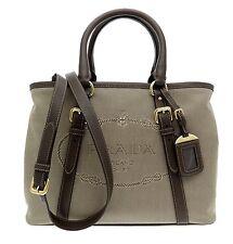 Prada Satchel Tote Jacquard Shopper Canvas Shoulder Bag Beige Brown New