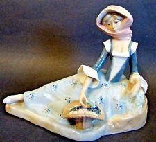 Porcelain Figurine Lladró Design Made by Casades Spain Lady with Fruit Basket