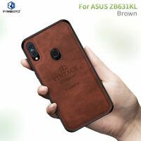 For Asus Zenfone Max Pro M2 ZB631KL Vintage TPU Bumper Canvas Leather Case Cover