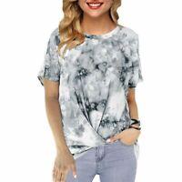 V Neck Elegant Loose Casual T-Shirt Short Sleeve Womens Floral Top Blouse