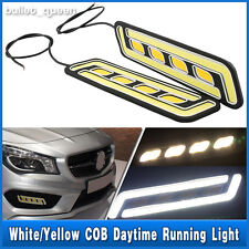 2x COB LED Daytime Running Light DRL Daylight Fog Lights + Turn Signal Lamp 12V